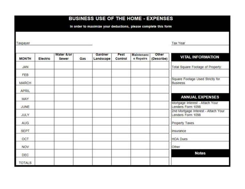 Anchor Tax Service - Home use worksheet
